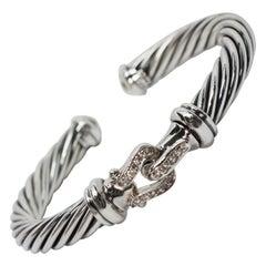 David Yurman Diamond Buckle Classic Cable Cuff Bracelet