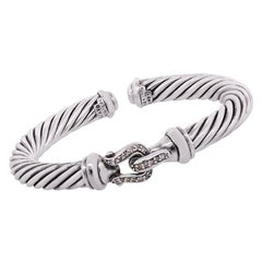 David Yurman Diamond Cable Buckle Bangle