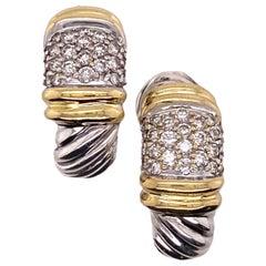 David Yurman Diamond Cable Shrimp Earrings 18 Karat Yellow Gold Sterling Silver