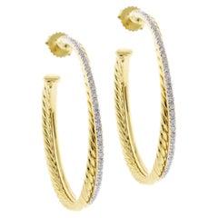 David Yurman Diamond Crossover Collection XL Hoop Earrings