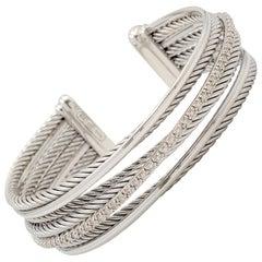 David Yurman Diamond 'Crossover' Four-Row Cuff Bracelet