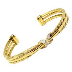 David Yurman Diamond Crossover X Cable Cuff Bracelet in 18 Karat Yellow Gold