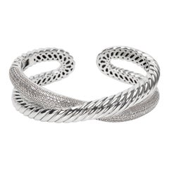 David Yurman Diamond Crossover X Cuff in Sterling Silver '1.50 Carat'