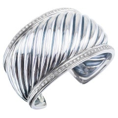 David Yurman Diamond Fluted Wide Sterling Silver Cuff Bracelet