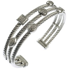 David Yurman Diamond Sterling Silver 'Confetti' Cuff Bracelet