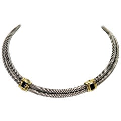 David Yurman Double Cable Chain Sterling Silver Iolite Collar Necklace