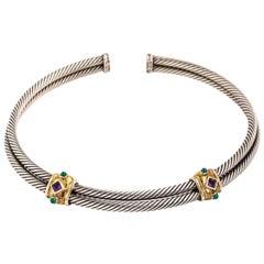 David Yurman Double Cable Choker-Sterling 14 Karat Amethyst Emeralds