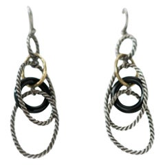 David Yurman Earrings in Sterling Silver, 18 Karat Yellow Gold and Onyx