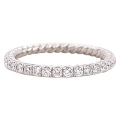 David Yurman Eden Single Row Diamond Full Pavé Eternity Band Ring in Platinum