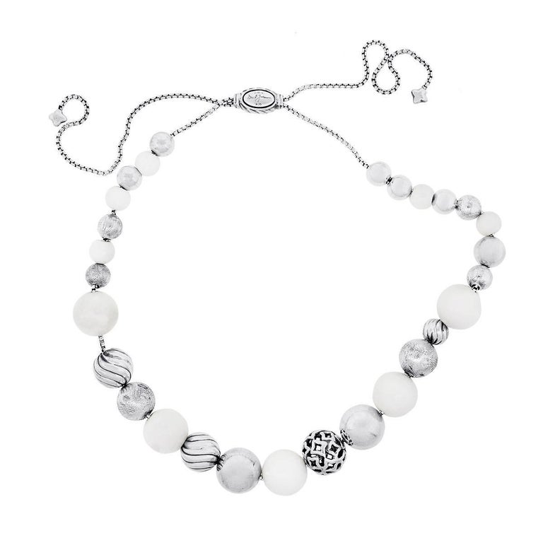 David Yurman Elements White And Silver Bead Necklace In Excellent Condition For Boca Raton