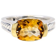 David Yurman Faceted Citrine Ring 18 Karat Yellow Gold and Sterling Silver