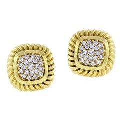 David Yurman Fluted Pavé Diamond Alboin Earrings