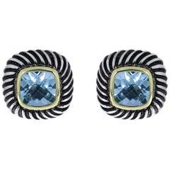 Retired David Yurman Gold and Silver Blue Topaz Cushion Albion Bezel Earrings