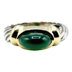 David Yurman Green Chalcedony Domed Cabochon Sterling Silver and Gold Ring
