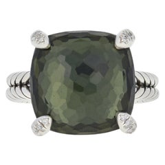 David Yurman Green Orchid and Diamond Chatelaine Ring, Sterling Designer