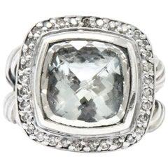 David Yurman Green Quartz Diamond Sterling Silver Petite Albion Ring