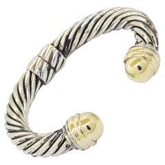 David Yurman Heavy 14K YG & 925 Sterling Silver Cuff Bracelet