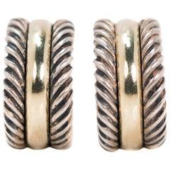 David Yurman Huggie Hoop Earrings in Sterling Silver and 14 Karat Yellow Gold