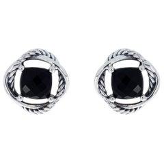 David Yurman Infinity Sterling Silver Cushion Cut Onyx Stud Earrings