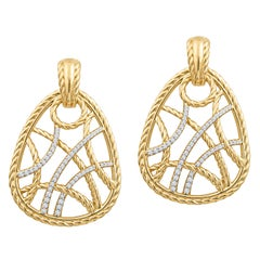 David Yurman Intricate 18 Karat Gold Dangle Earrings with 1.00ct Round Diamonds