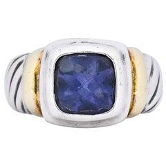 David Yurman Iolite Sterling Silver 14 Karat Gold Noblesse Ring