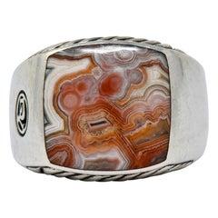 David Yurman Jasper Ring Sterling Silver Men's Exotic Stone Ring