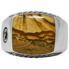 David Yurman Jasper Sterling Silver Men's Exotic Stone Ring