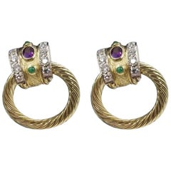David Yurman Knocker Amethyst Emerald and Diamond Earrings in 18 Karat Gold