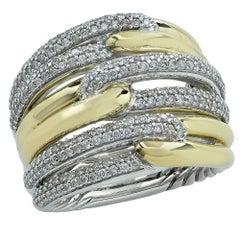 David Yurman Labrynth Triple-Loop Ring with Diamonds