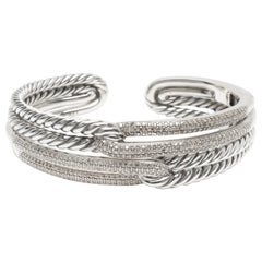 David Yurman Labyrinth Diamond Cuff in Sterling Silver 1.77 Carat