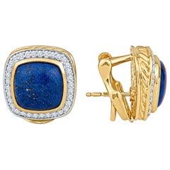 David Yurman Lapis Lazuli and Diamond Halo Chunky 18 Karat Yellow Gold Earrings