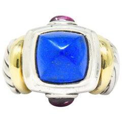 David Yurman Lapis Lazuli Garnet 14 Karat Gold Sterling Silver Ring