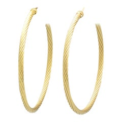 David Yurman Large 18 Karat Gold Cable Hoop Earrings