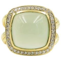 David Yurman Large Aqua Chalcedony Diamond Albion Gold Cocktail Ring