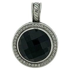 David Yurman Large Black Onyx and Diamond Pendant/Enhancer Sterling Silver