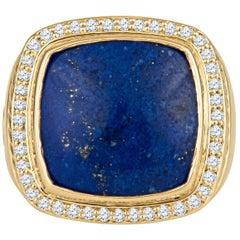 David Yurman Large Lapis Lazuli Ring with 0.43 Carat Total Diamonds