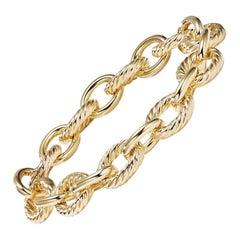 David Yurman Large Oval Link Ladies Bracelet in 18k Gold BC0132 8875