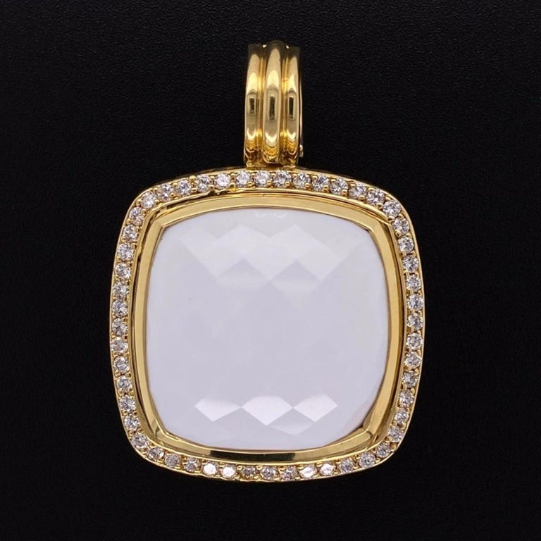 Mixed Cut David Yurman Large White Agate and Diamond 18K Gold Pendant Fine Estate Jewelry For Sale