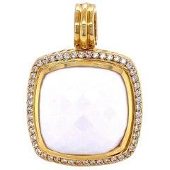 David Yurman Large White Agate and Diamond 18K Gold Pendant Fine Estate Jewelry