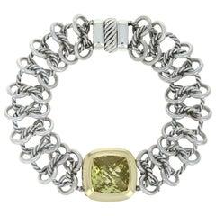 David Yurman Lemon Citrine Woven Cable Link Bracelet Sterling and 18 Karat Gold