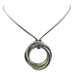 David Yurman Long Crossover Necklace with Ringed Pendant