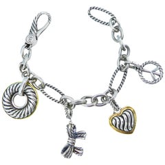 David Yurman Madison Charm Bracelet Cable Sterling Silver Gold Two-Tone