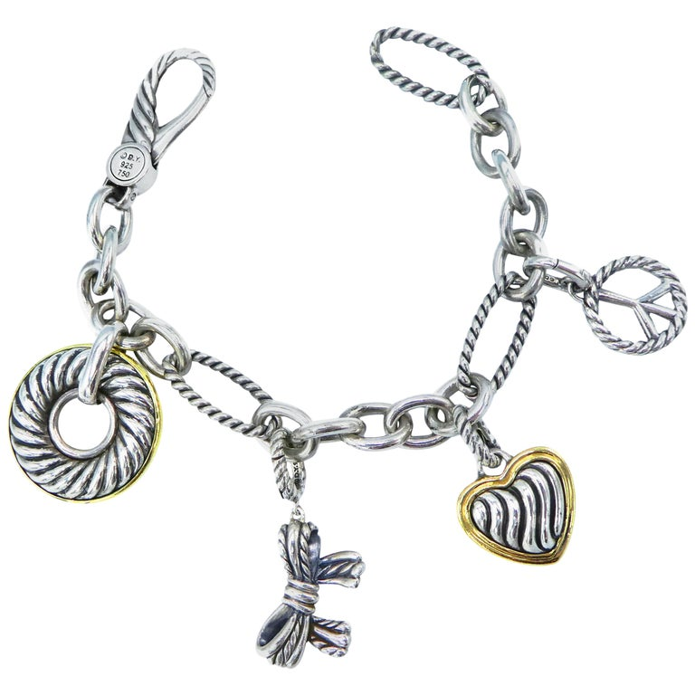 David Yurman Madison Charm Bracelet Cable Sterling Silver Gold Two-Tone