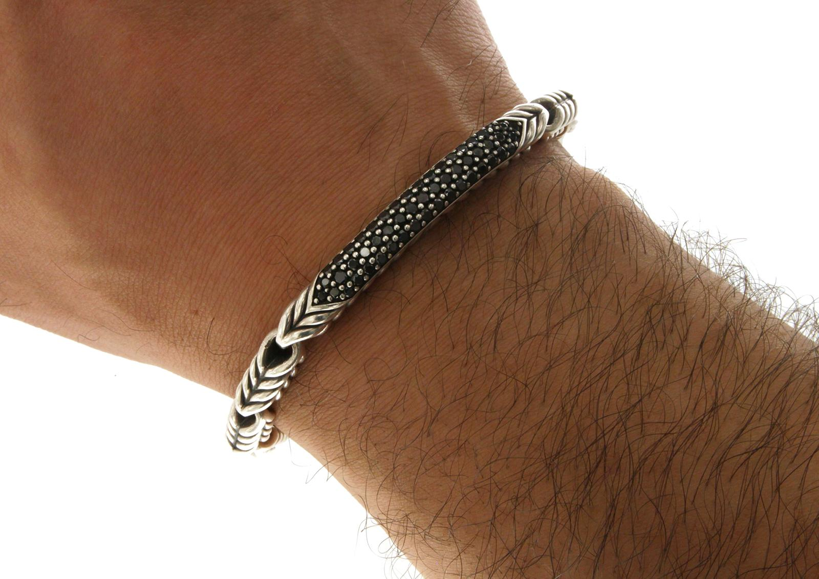 Chevron Id With Black Diamonds Bracelet