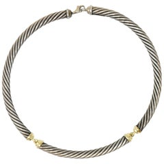 David Yurman Metro Sterling Silver 14 Karat Gold Cable Necklace