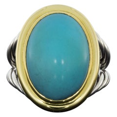David Yurman Mixed Metals Oval Turquoise Unique Ladies Ring