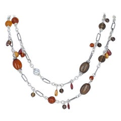 David Yurman Multi-Gemstone Bijoux Bead Figaro Necklace Sterling Amber