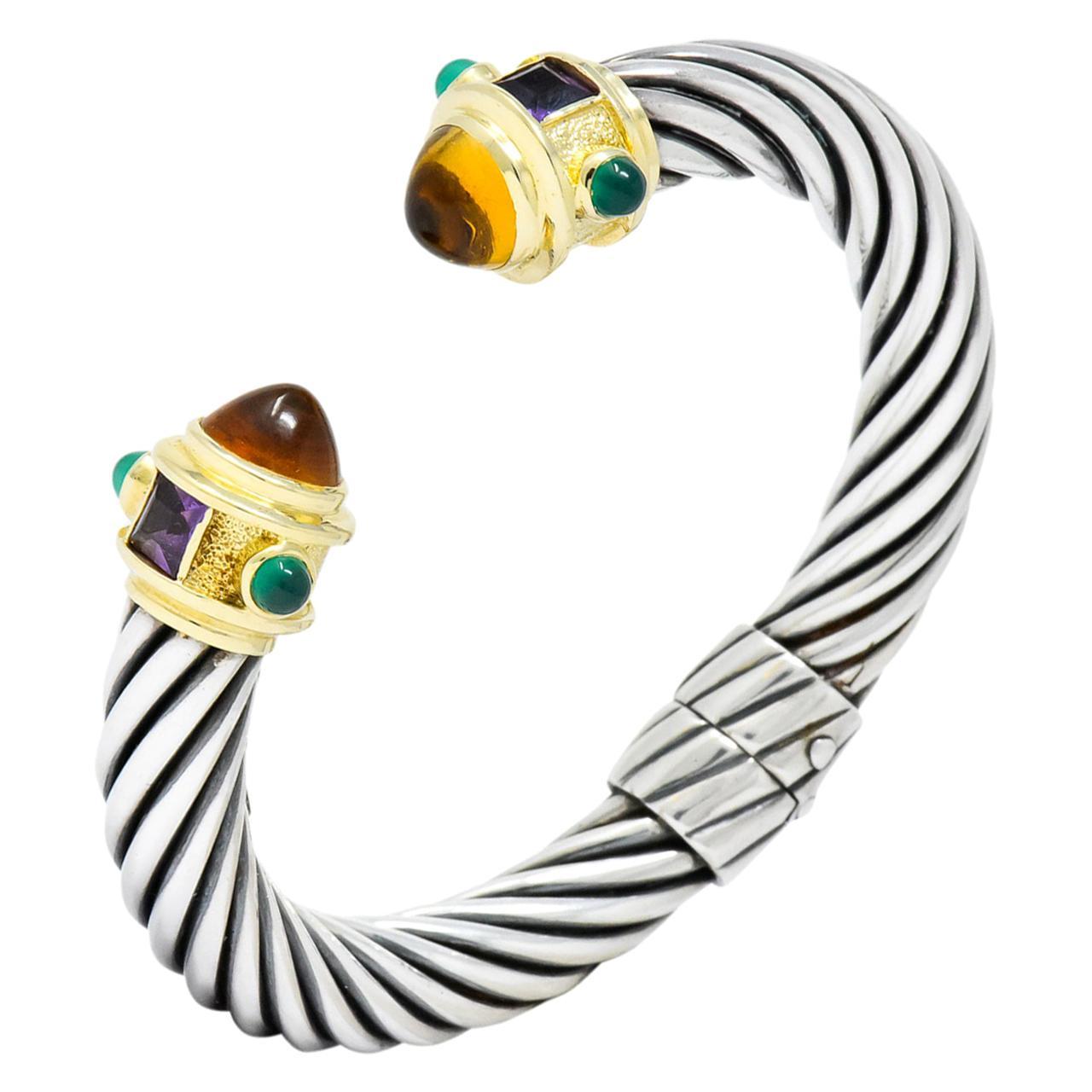 David Yurman Multi Gemstone Sterling Silver 14 Karat Gold Renaissance Bracelet