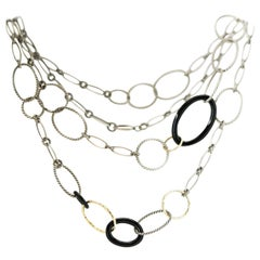 David Yurman Necklace in Sterling Silver, 18 Karat Yellow Gold and Onyx