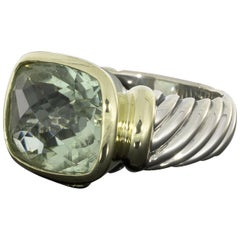 David Yurman Noblesse Cushion Cut Large Prasiolite 'Green Amethyst' Ring
